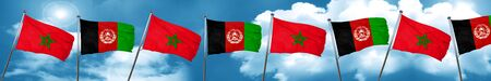 Morocco flag with afghanistan flag, 3D rendering