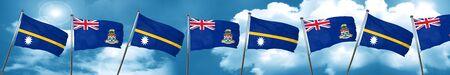 cayman: Nauru flag with Cayman islands flag, 3D rendering
