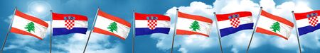 bandera de croacia: Lebanon flag with Croatia flag, 3D rendering Foto de archivo