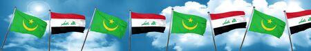 iraq flag: Mauritania flag with Iraq flag, 3D rendering