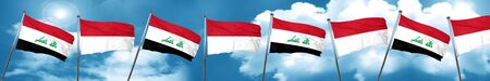 iraq flag: Iraq flag with Indonesia flag, 3D rendering