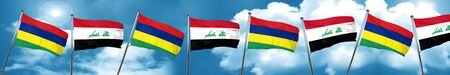 Mauritius flag with Iraq flag, 3D rendering Foto de archivo