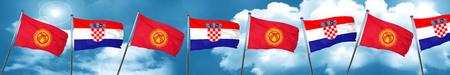 bandera de croacia: Kyrgyzstan flag with Croatia flag, 3D rendering