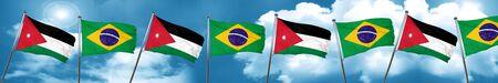 Jordan flag with Brazil flag, 3D rendering