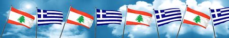 Lebanon flag with Greece flag, 3D rendering Stock Photo
