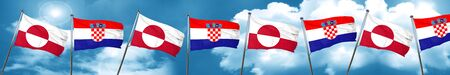 bandera de croacia: greenland flag with Croatia flag, 3D rendering