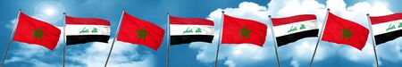 iraq flag: Morocco flag with Iraq flag, 3D rendering Stock Photo