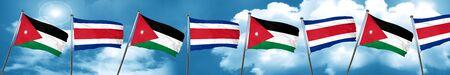 Jordan flag with Costa Rica flag, 3D rendering