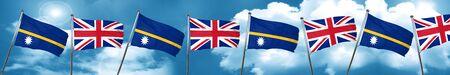 nauru: Nauru flag with Great Britain flag, 3D rendering Stock Photo