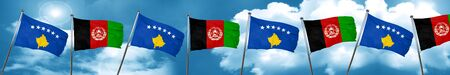 Kosovo flag with afghanistan flag, 3D rendering Stock Photo