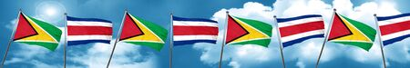 Guyana flag with Costa Rica flag, 3D rendering Stock Photo