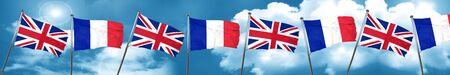 bandera de gran bretaña: Great britain flag with France flag, 3D rendering