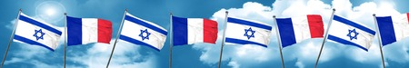 israel flag: Israel flag with France flag, 3D rendering