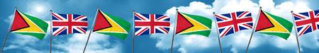 bandera de gran bretaña: Guyana flag with Great Britain flag, 3D rendering