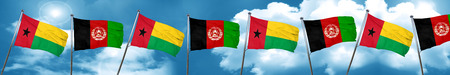Guinea bissau flag with afghanistan flag, 3D rendering