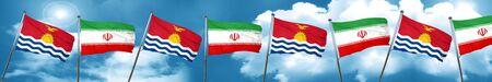 Kiribati flag with Iran flag, 3D rendering Stock Photo