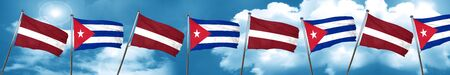 Latvia flag with cuba flag, 3D rendering