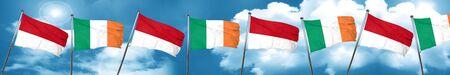 ireland flag: monaco flag with Ireland flag, 3D rendering