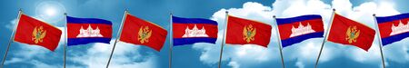 Montenegro flag with Cambodia flag, 3D rendering Stock Photo