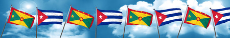 Grenada flag with cuba flag, 3D rendering