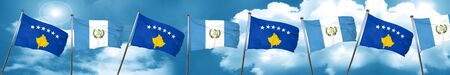 bandera de guatemala: Kosovo flag with Guatemala flag, 3D rendering Foto de archivo