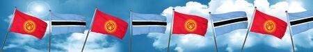 botswana: Kyrgyzstan flag with Botswana flag, 3D rendering