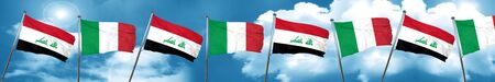 Iraq flag with Italy flag, 3D rendering