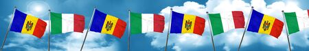 Moldova flag with Italy flag, 3D rendering Stock Photo