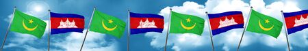 Mauritania flag with Cambodia flag, 3D rendering