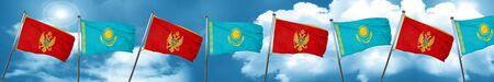 Montenegro flag with Kazakhstan flag, 3D rendering