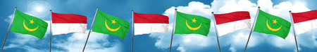 Mauritania flag with Indonesia flag, 3D rendering Stock Photo