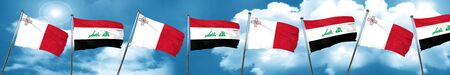malta: Malta flag with Iraq flag, 3D rendering Stock Photo