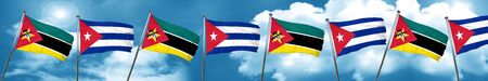 Mozambique flag with cuba flag, 3D rendering