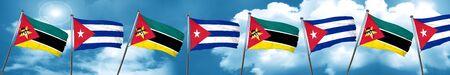 bandera de cuba: Mozambique flag with cuba flag, 3D rendering