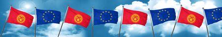 Bandera de Kirguistán con la bandera de unión europea, 3D