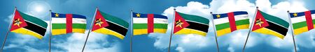 Mozambique flag with Central African Republic flag, 3D rendering