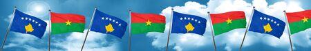 Kosovo flag with Burkina Faso flag, 3D rendering