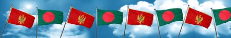 Montenegro flag with Bangladesh flag, 3D rendering Stock Photo