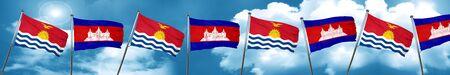 Kiribati flag with Cambodia flag, 3D rendering