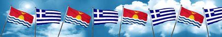 Kiribati flag with Greece flag, 3D rendering