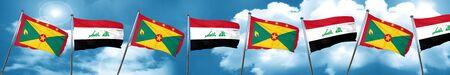 iraq flag: Grenada flag with Iraq flag, 3D rendering