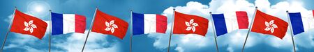 french culture: hong kong flag with France flag, 3D rendering
