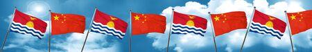 kiribati: Kiribati flag with China flag, 3D rendering