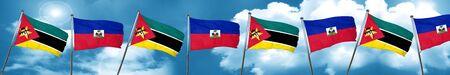 haiti: Mozambique flag with Haiti flag, 3D rendering