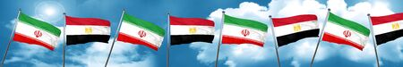 iran flag with egypt flag, 3D rendering