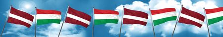 Latvia flag with Hungary flag, 3D rendering