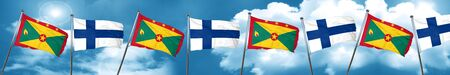 Grenada flag with Finland flag, 3D rendering