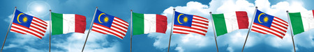 Malaysia flag with Italy flag, 3D rendering