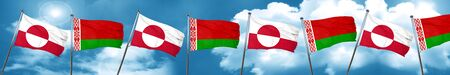 greenland flag with Belarus flag, 3D rendering