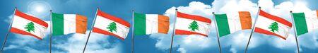 Lebanon flag with Ireland flag, 3D rendering Stock Photo